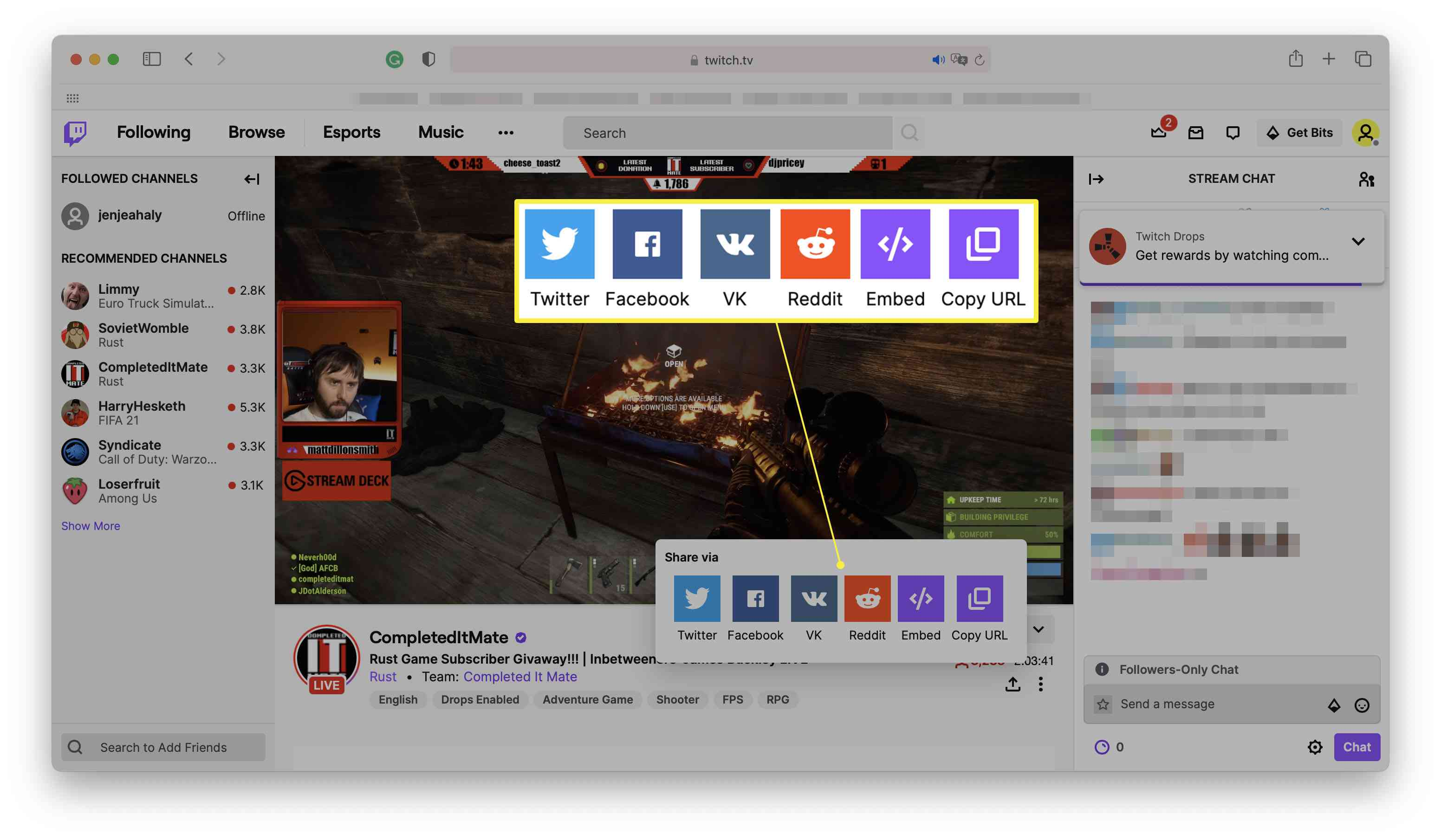 Twitch with a broadcast streaming and the Share via social media icons highlighted