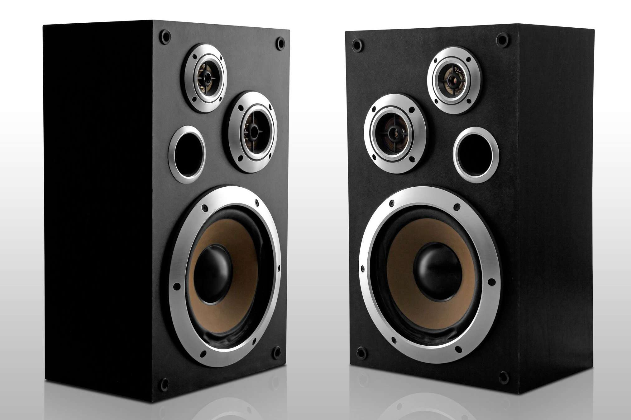 A pair of stereo speakers.