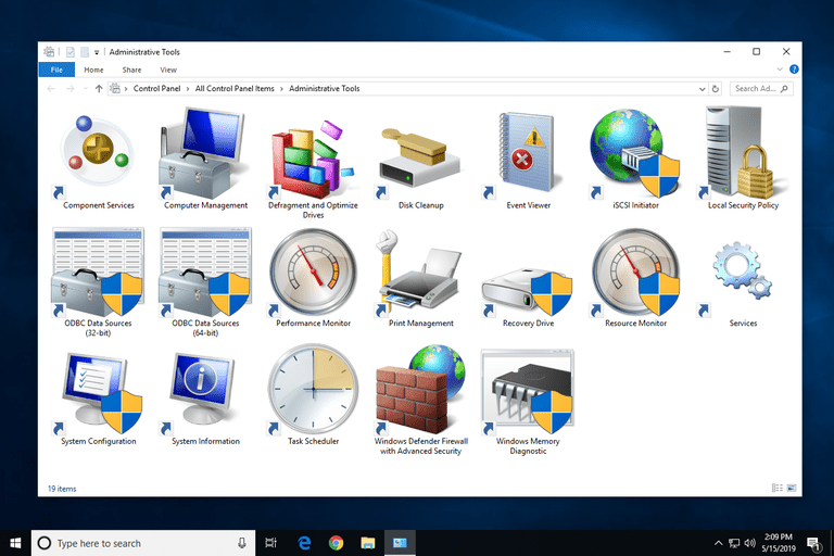 Administrative Tools in Windows 10