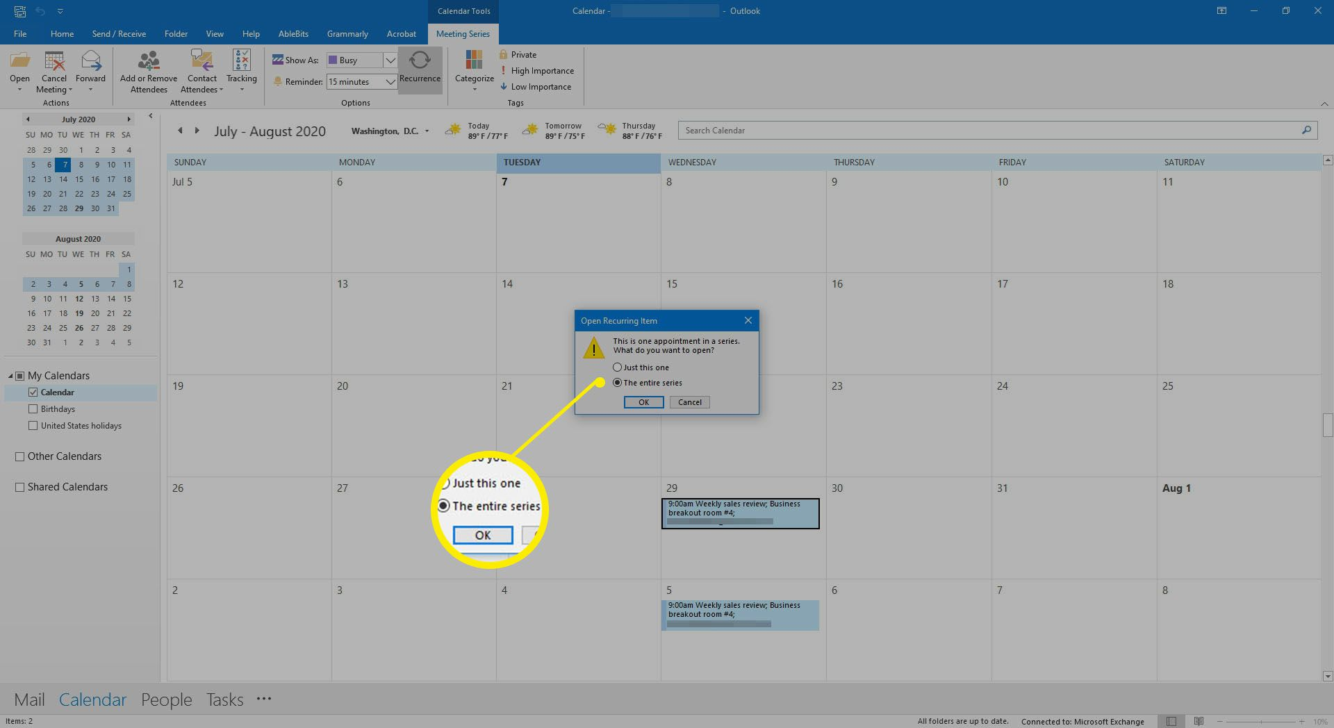 Selecting to open a series of calendar meetings in Outlook.