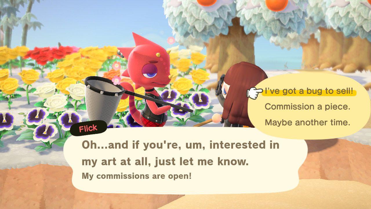 Flick in Animal Crossing.