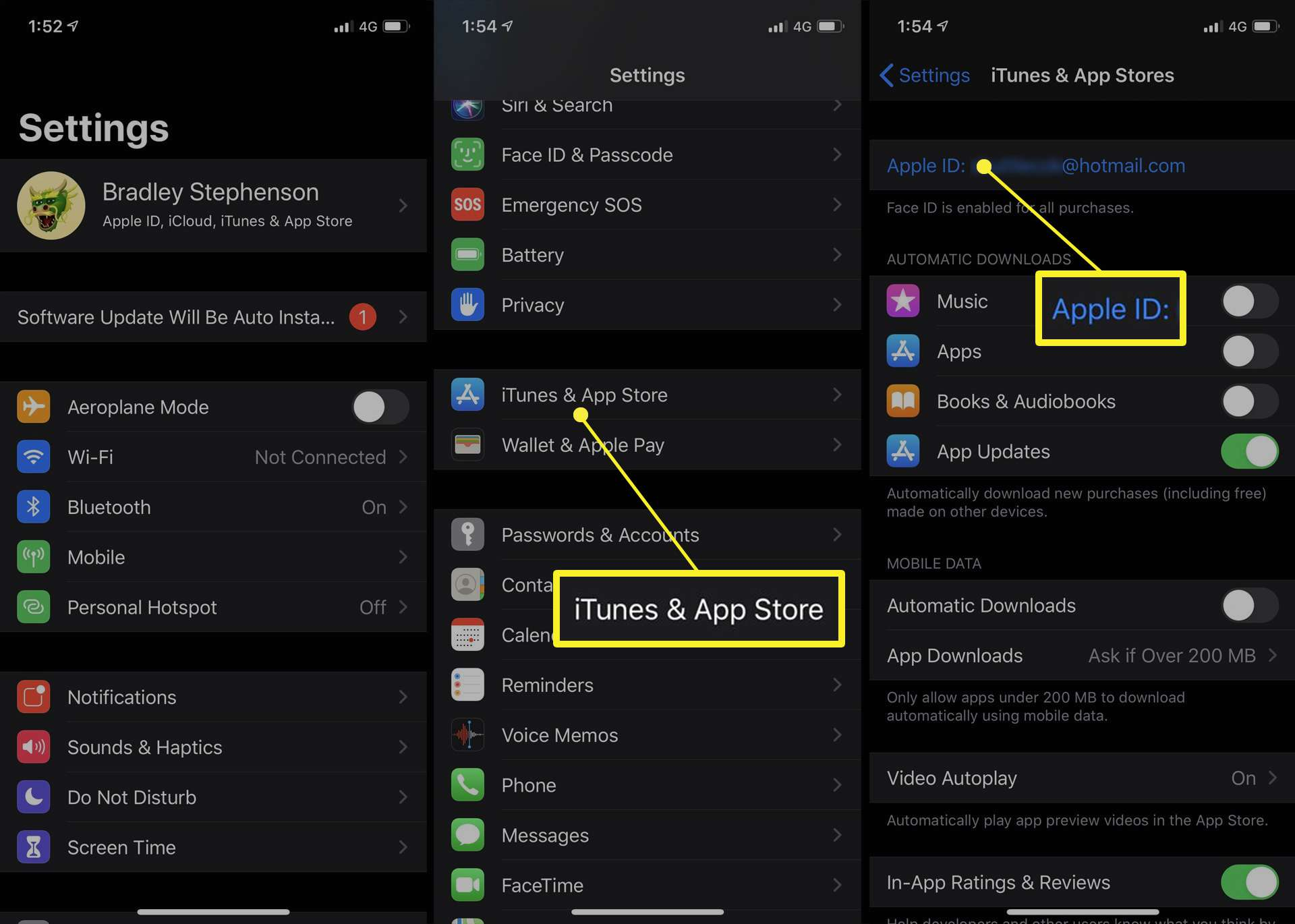iPhone access to iTunes & App Store settings