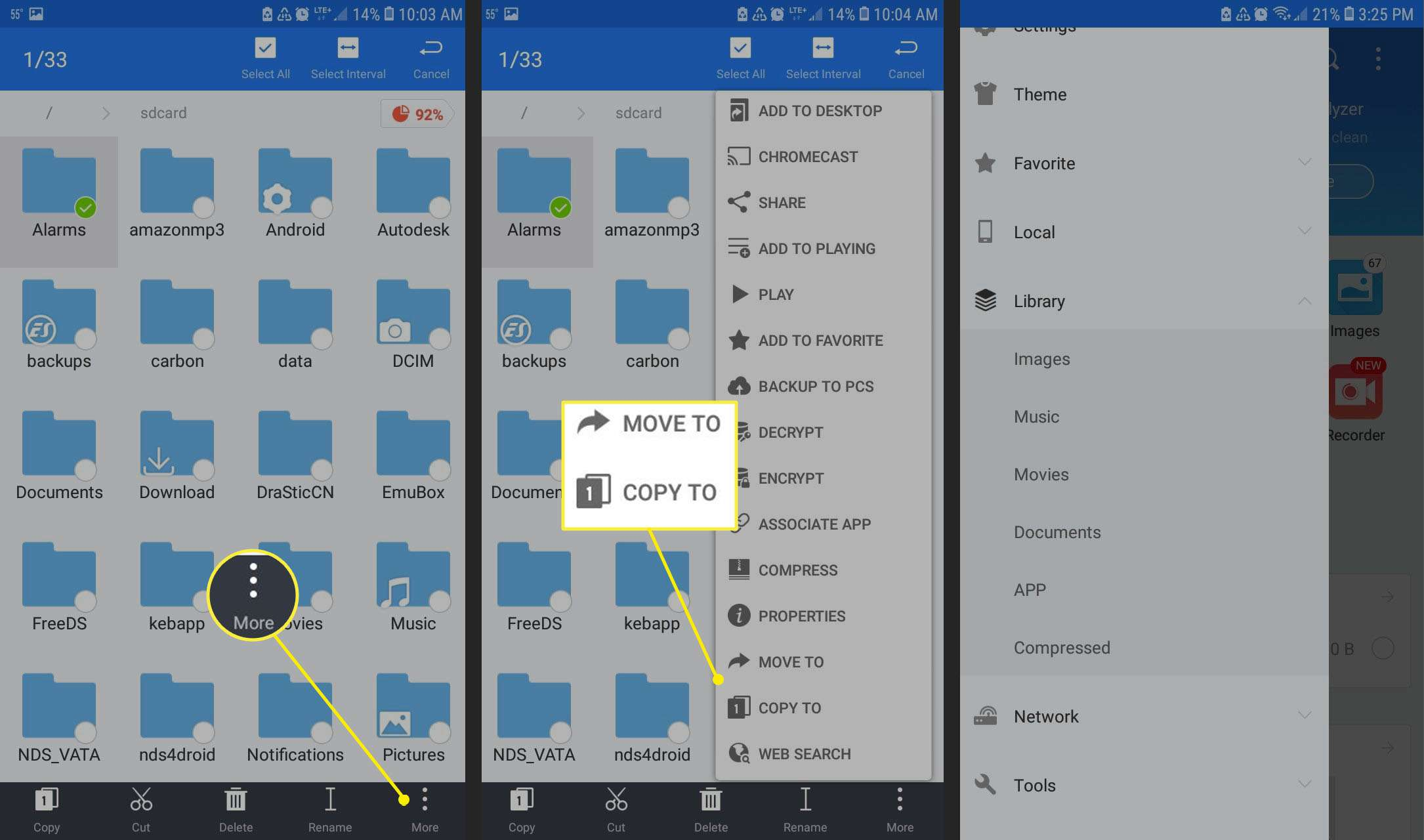 Move folders in ES File Explorer for Android.