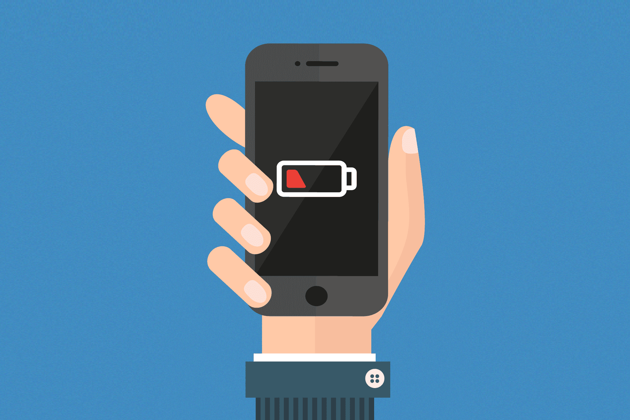Illustration of a low battery indicator on a phone
