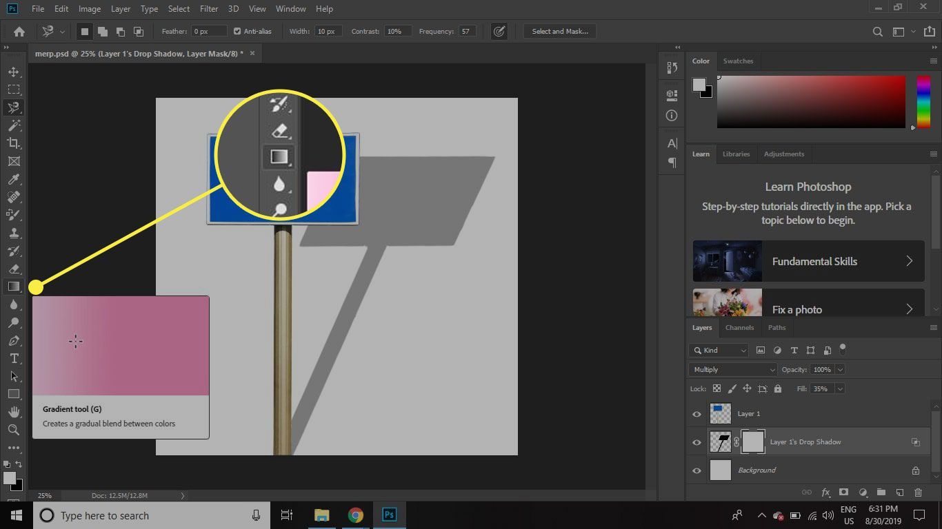 A screenshot of Photoshop with the Gradient tool highlighted