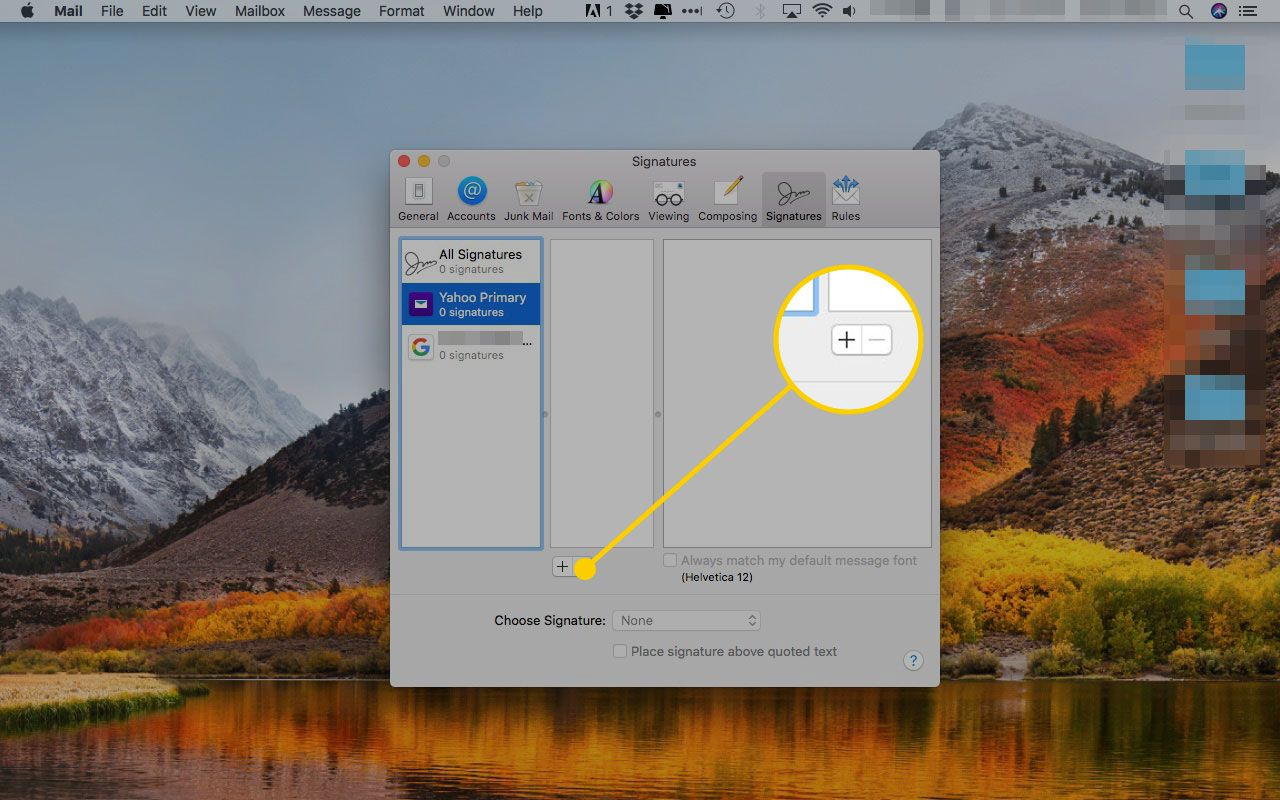 Apple Mail Signatures window with the plus sign highlighted
