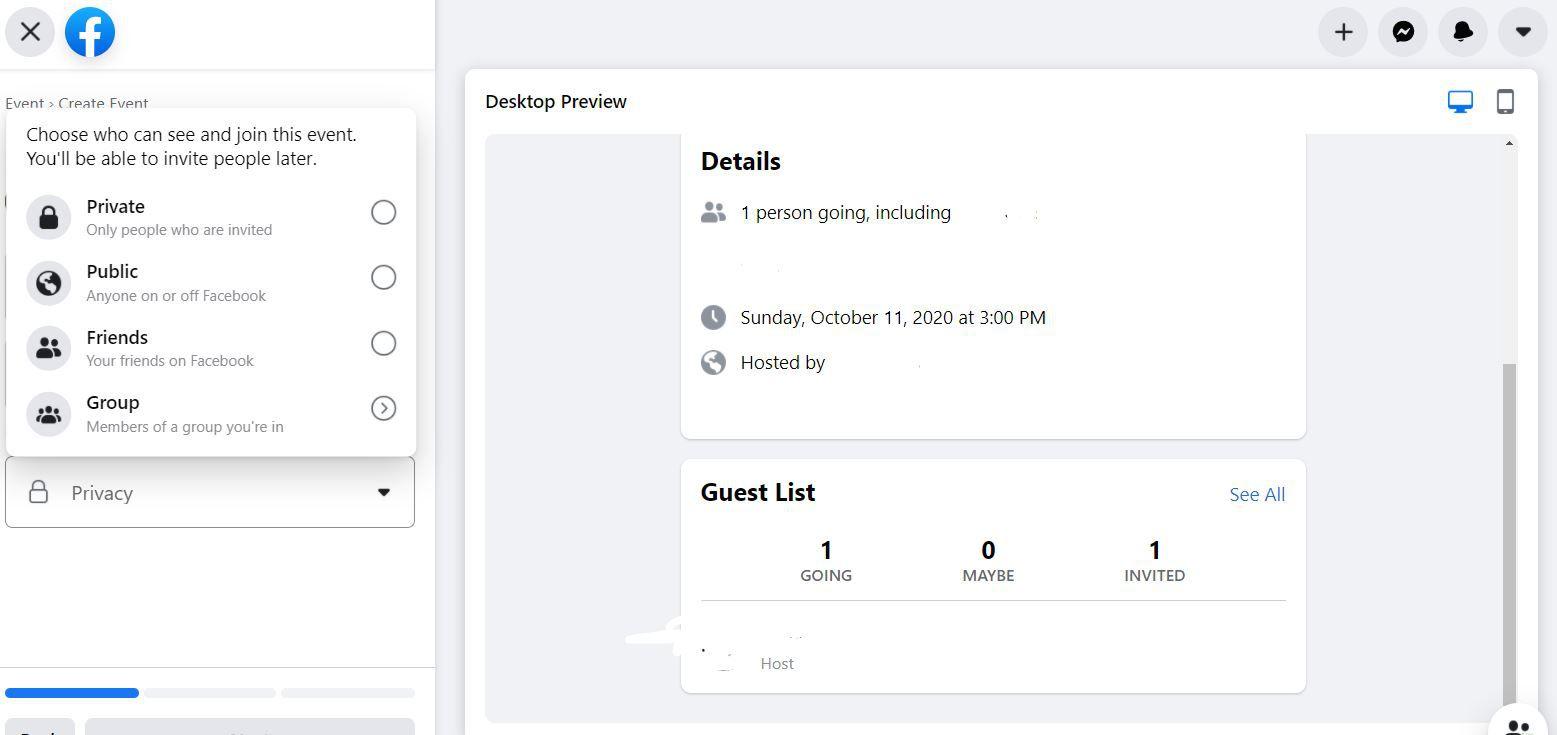 Event Privacy menu
