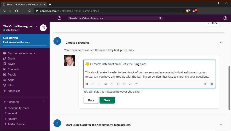A screenshot of creating a greeting on Slack.