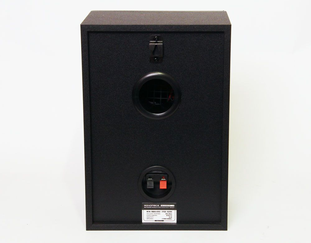 Rear Side Of The Monoprice MBS 650 8250 Bookshelf Speaker System