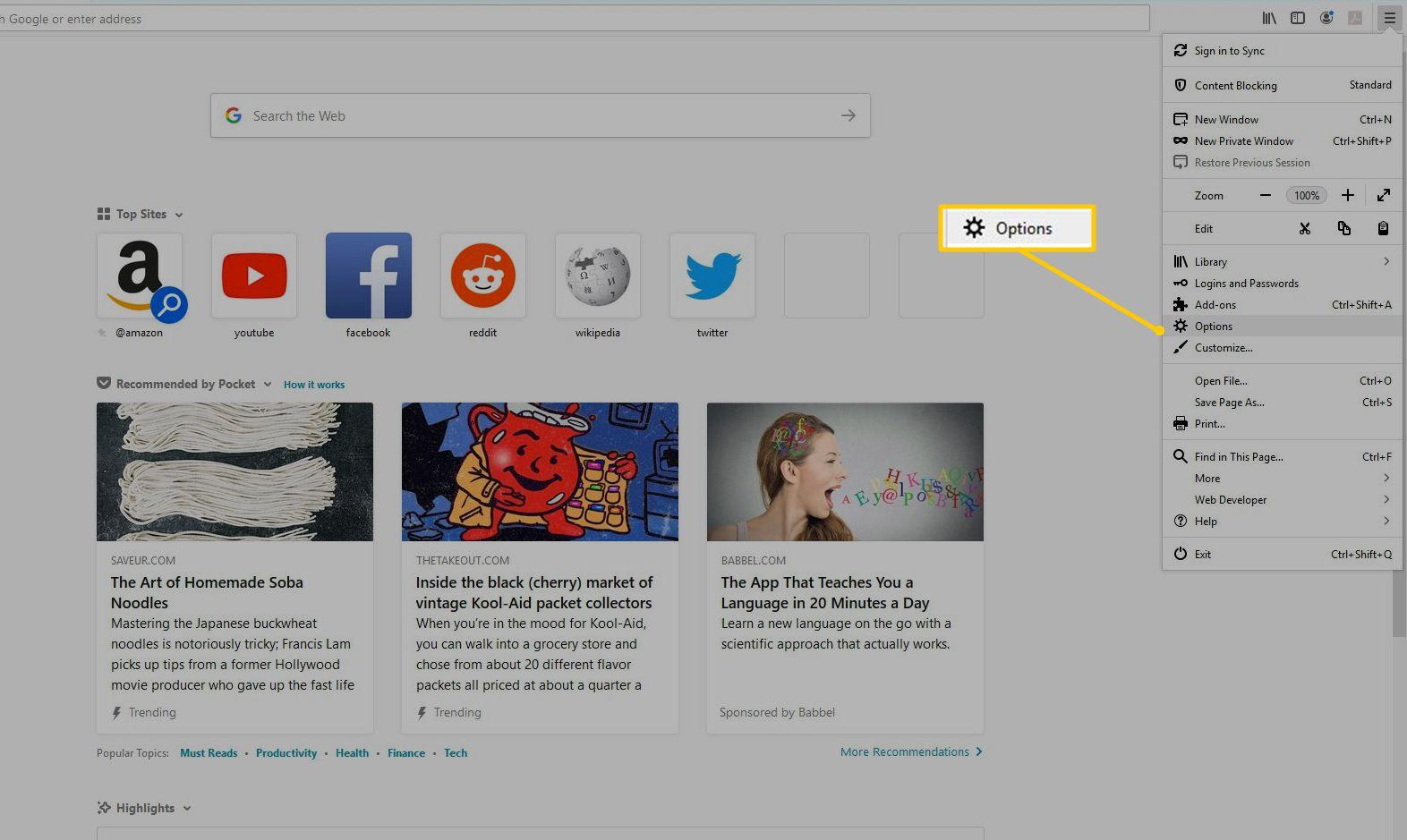 Options menu item in Firefox