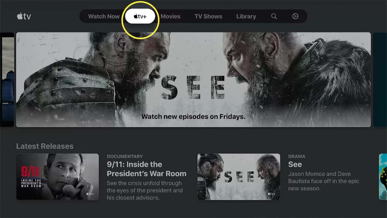 The Apple TV+ logo highlighted in the Apple TV app.