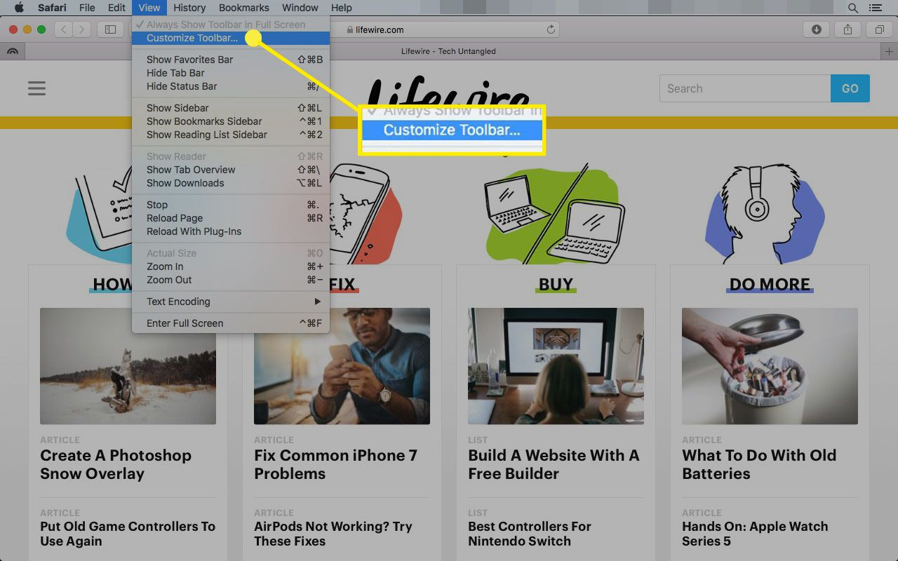 Safari on a Mac with the Customize Toolbar command highlighted
