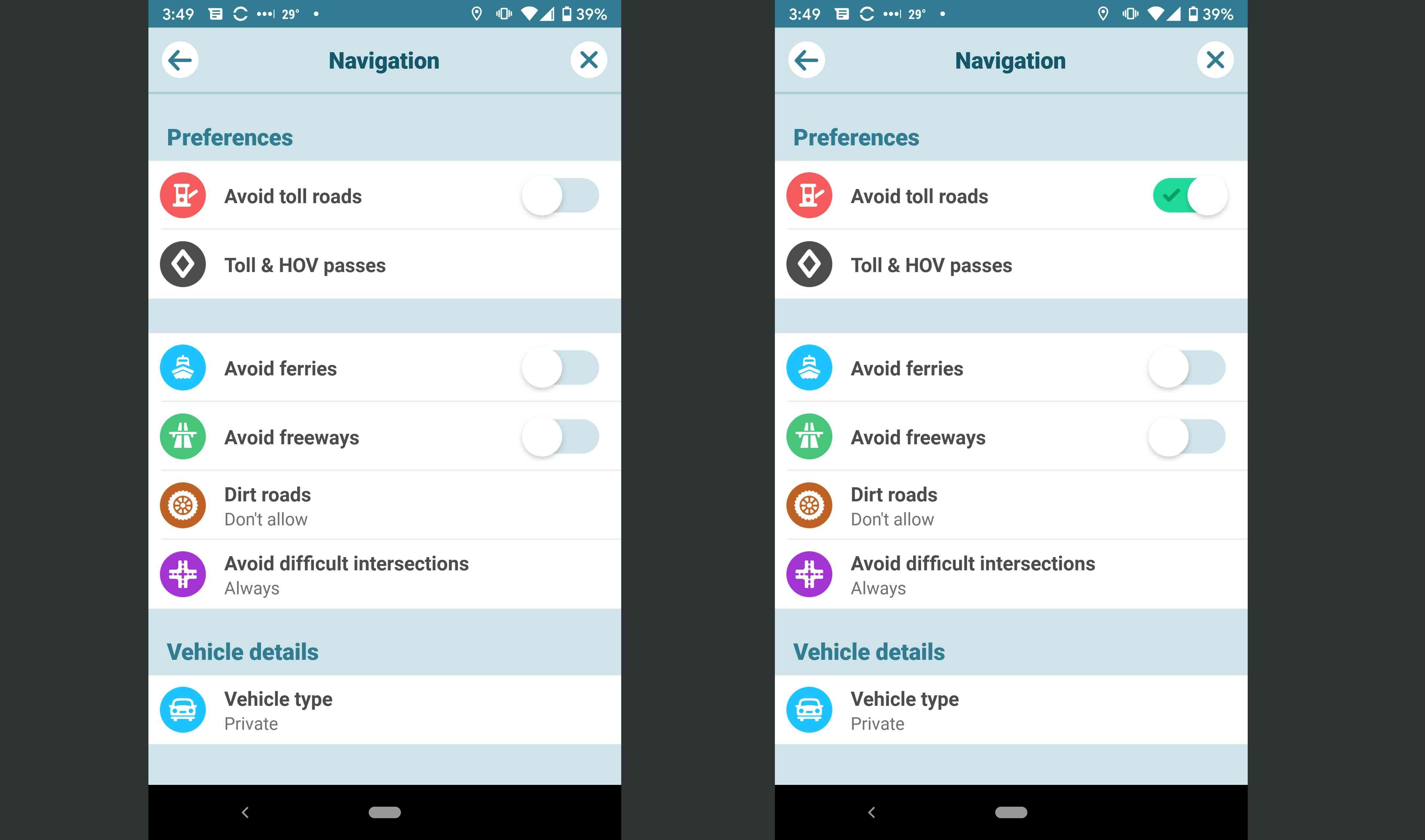 Waze app settings.
