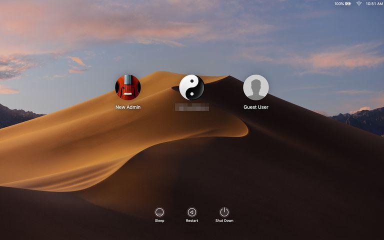 macOS Mojave account login screen