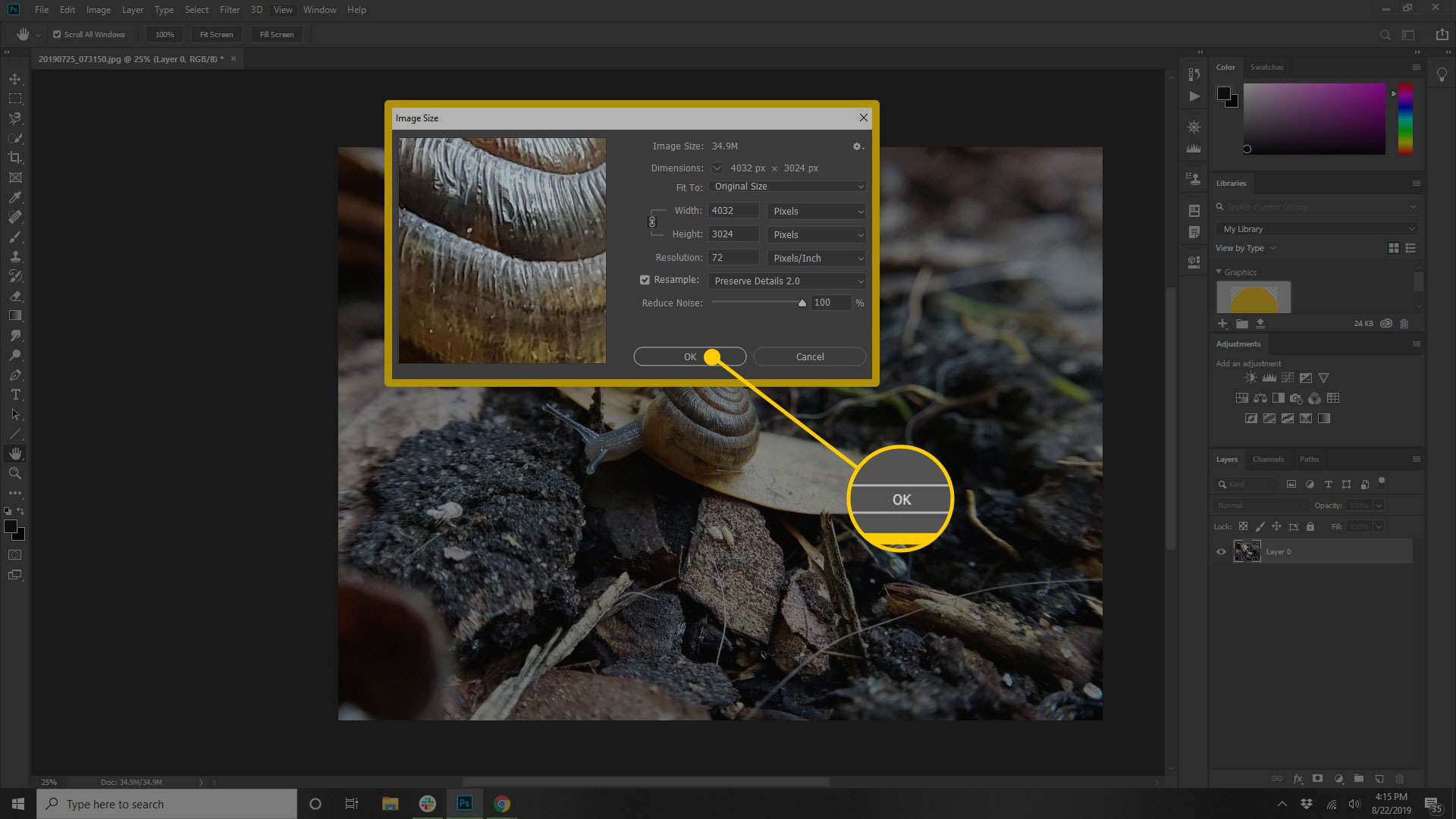 Image Size window in Photoshop with the OK button highlighted