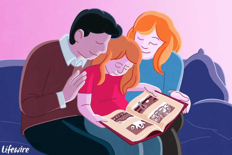 A family sitting closely on a couch looking at a printed photo book