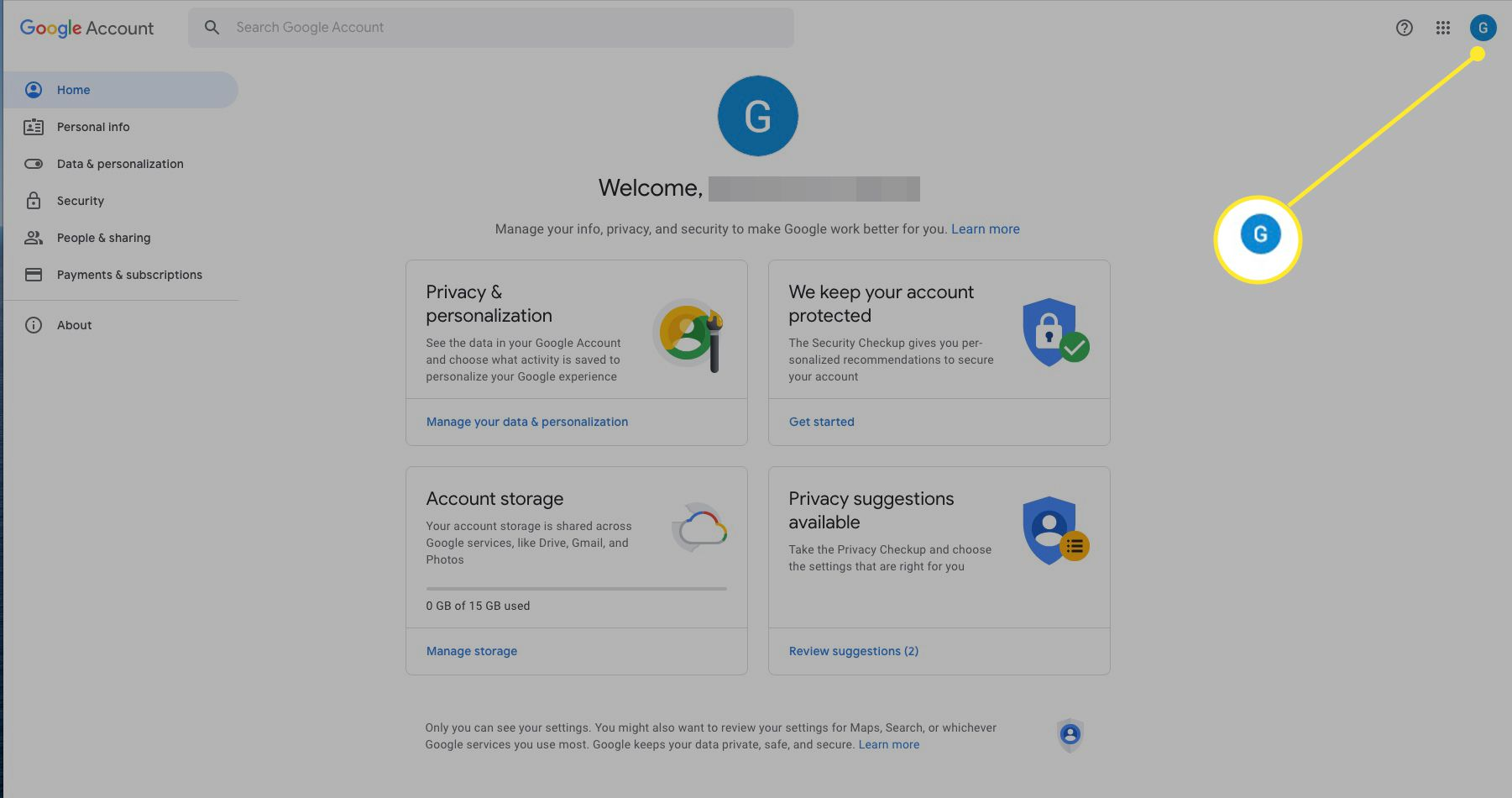 Google account with account profile icon highlighted