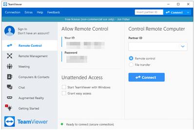 TeamViewer remote control tab