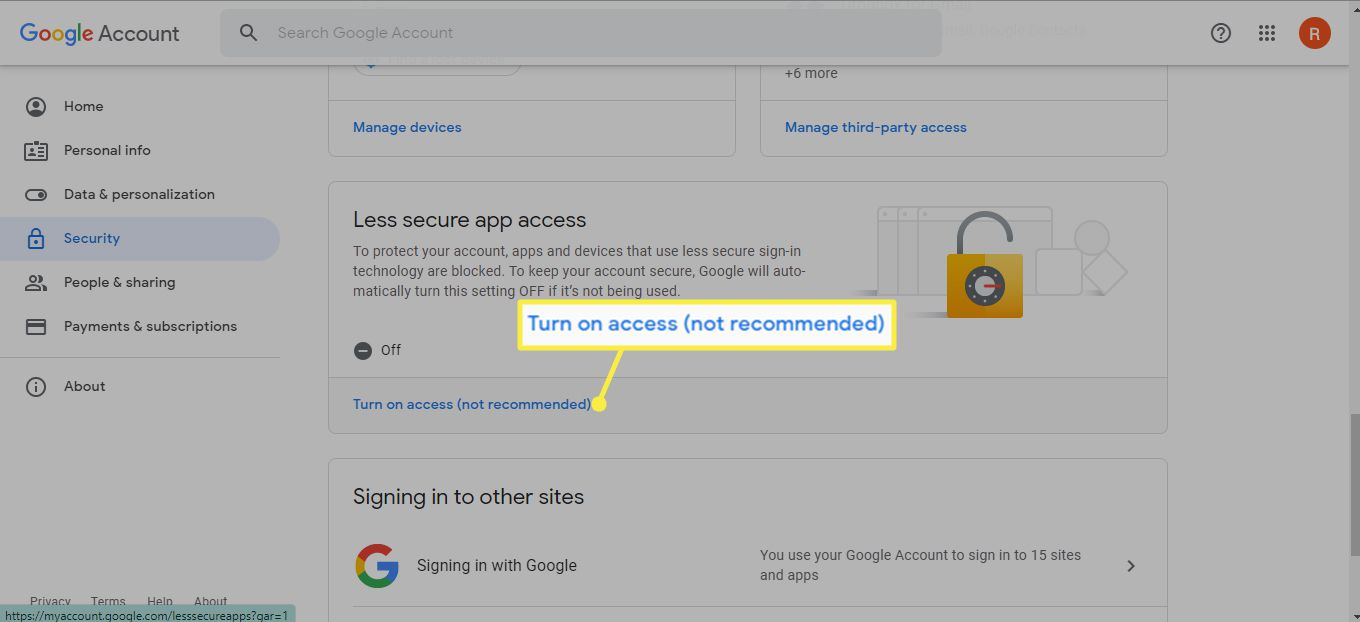 Turn on access under Less secure app access in Google Account Manager
