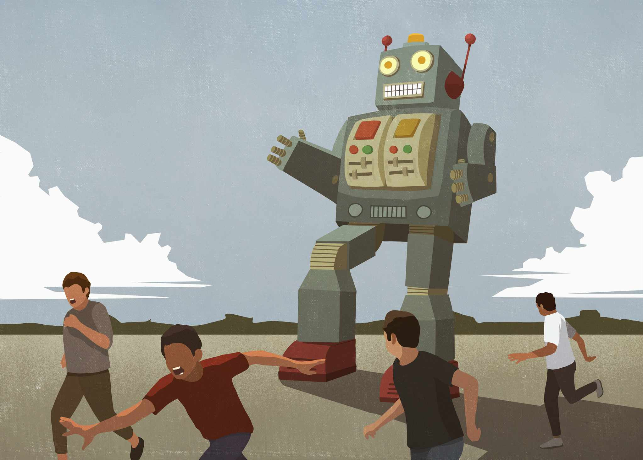 Illustration of a large robot chasing people.