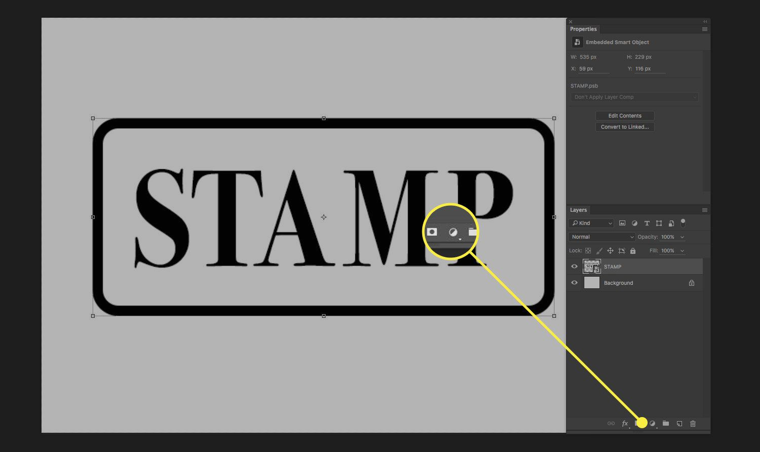 A screenshot of Photoshop with the Create New Fill Layer button highlighted