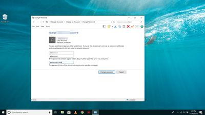 Change Password window in Windows 10