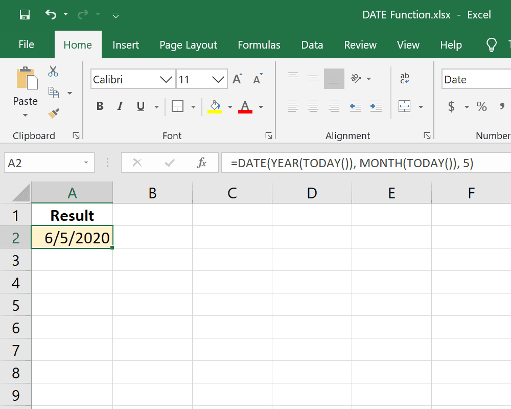 DATE and TODAY functions in one Excel formula