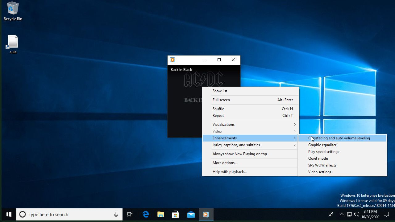 Windows Media Player open Crossfade options