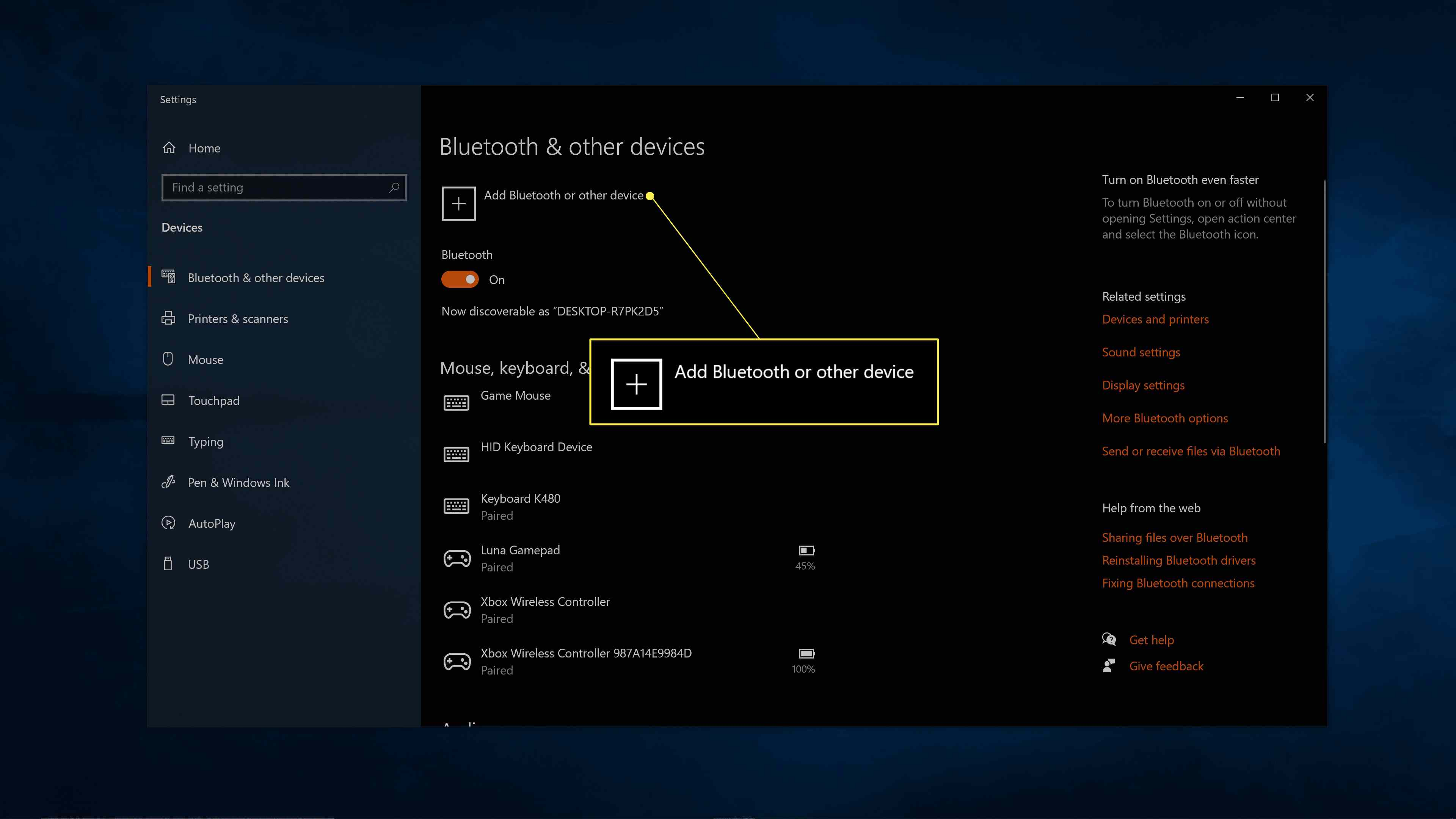 + Add Bluetooth or other device highlighted in Windows Bluetooth settings.