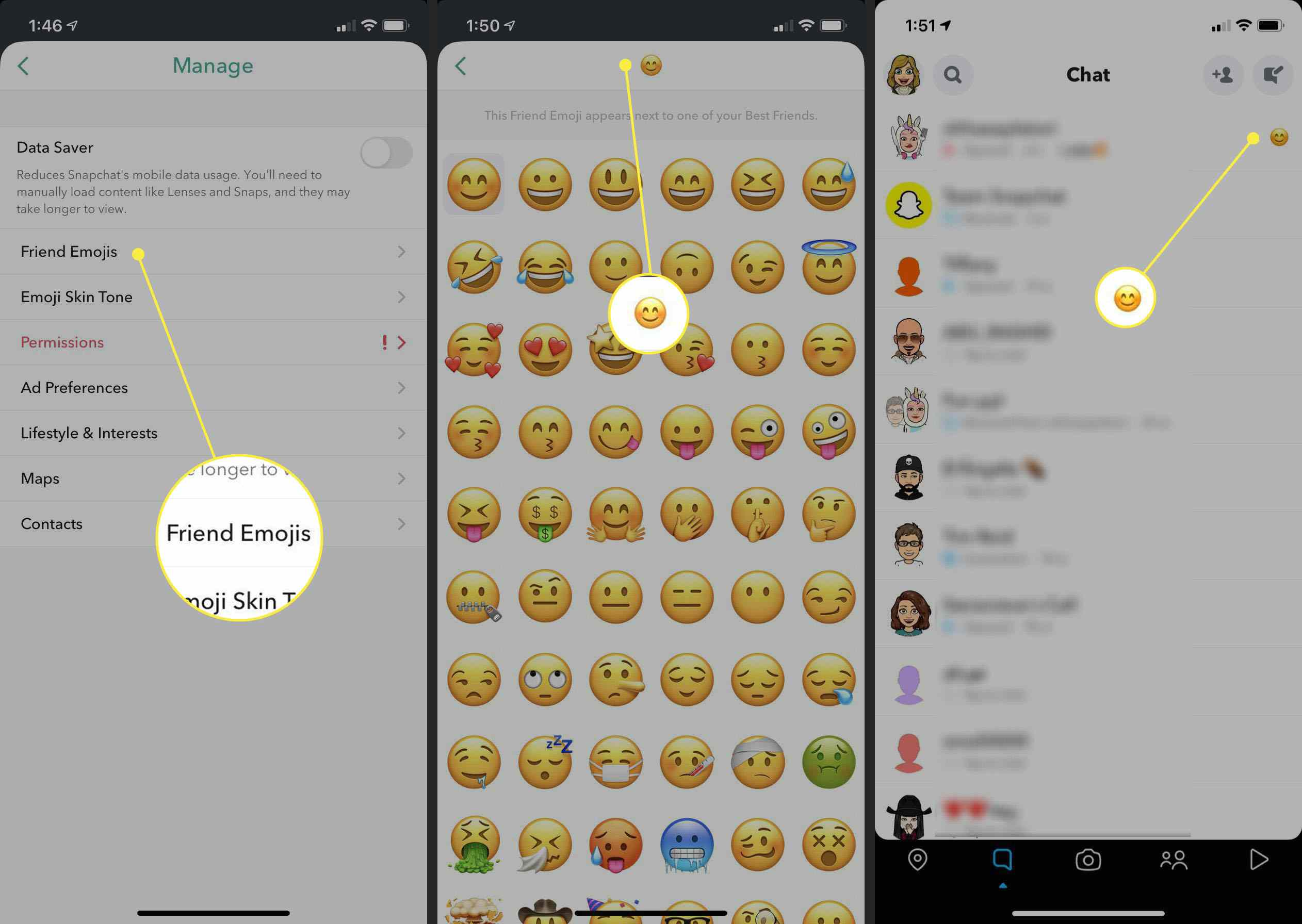Steps to change emoji in a conversation on Snapchat.