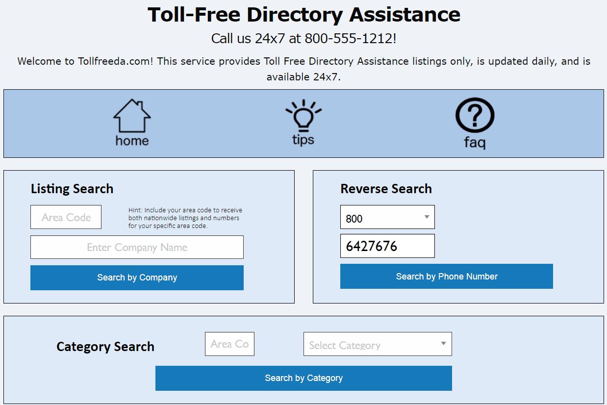 800 reverse search on tollfreeda.com