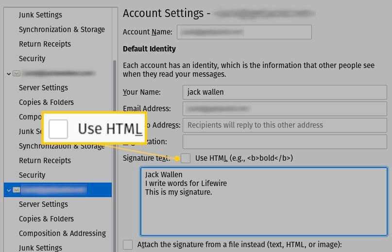 Screenshot of the Use HTML check box.