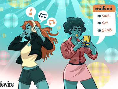 One person listening to music through headphones, a second person looking at Midomi on their smartphone to identify an unknown song