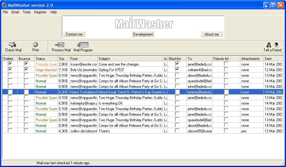 Screenshot of MailWasher software