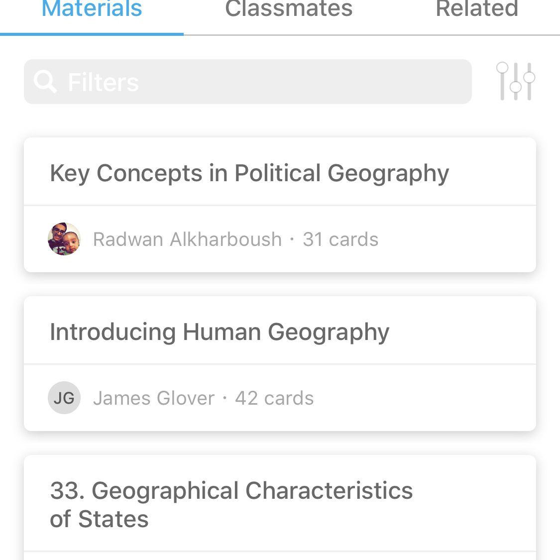 A sample screen from the StudyBlue iOS app