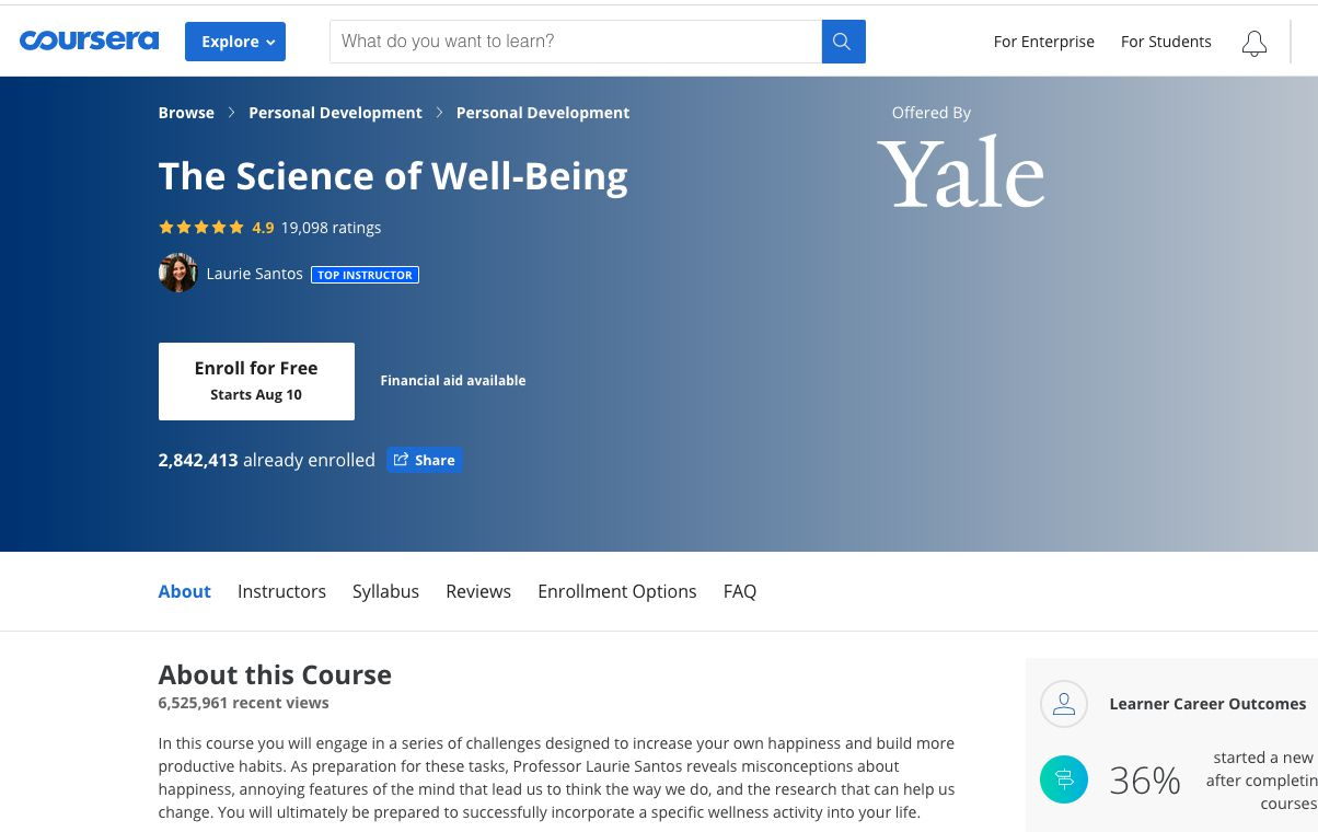 Coursera course on the Science of Well Being offered by Yale