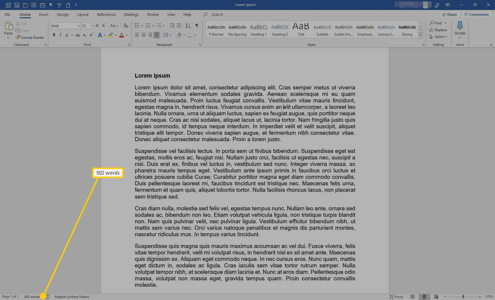 Microsoft Word with the word count highlighted