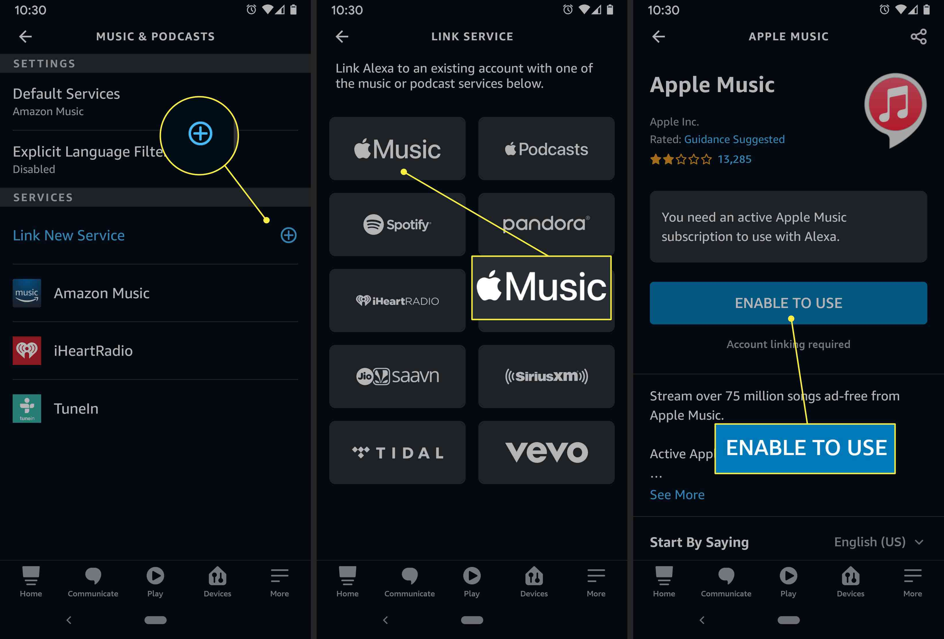 An Alexa user sets up Apple Music in the app's settings