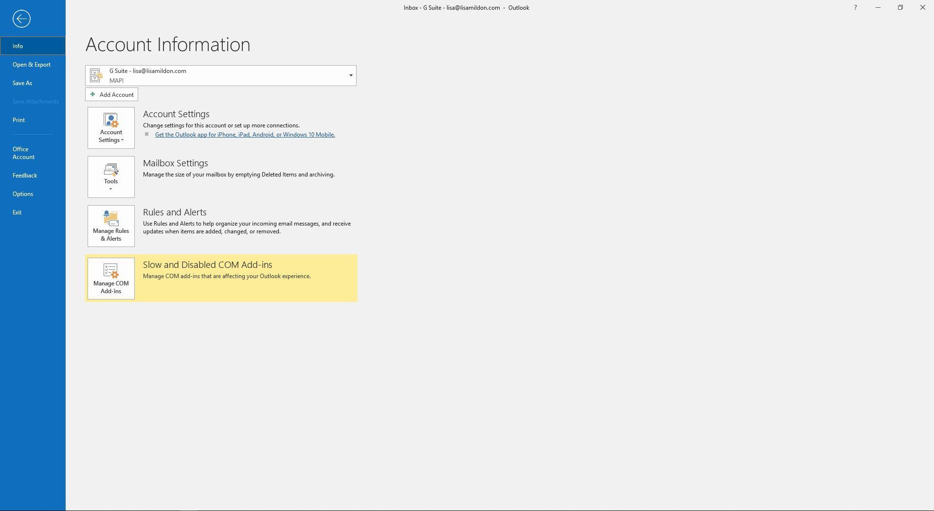 File menu options in Outlook