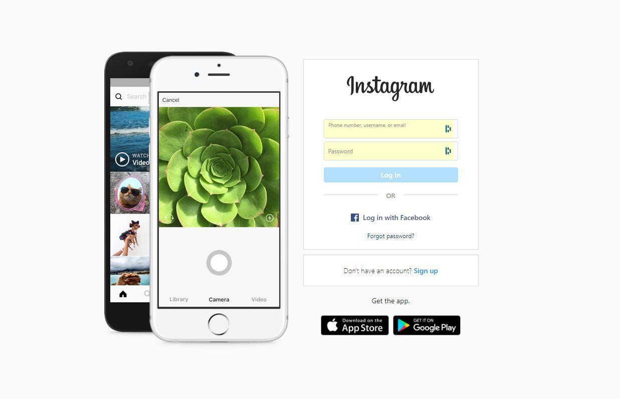 Instagram login screen on PC