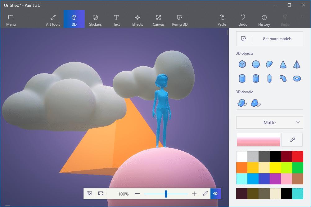 Screenshot of Paint 3D models