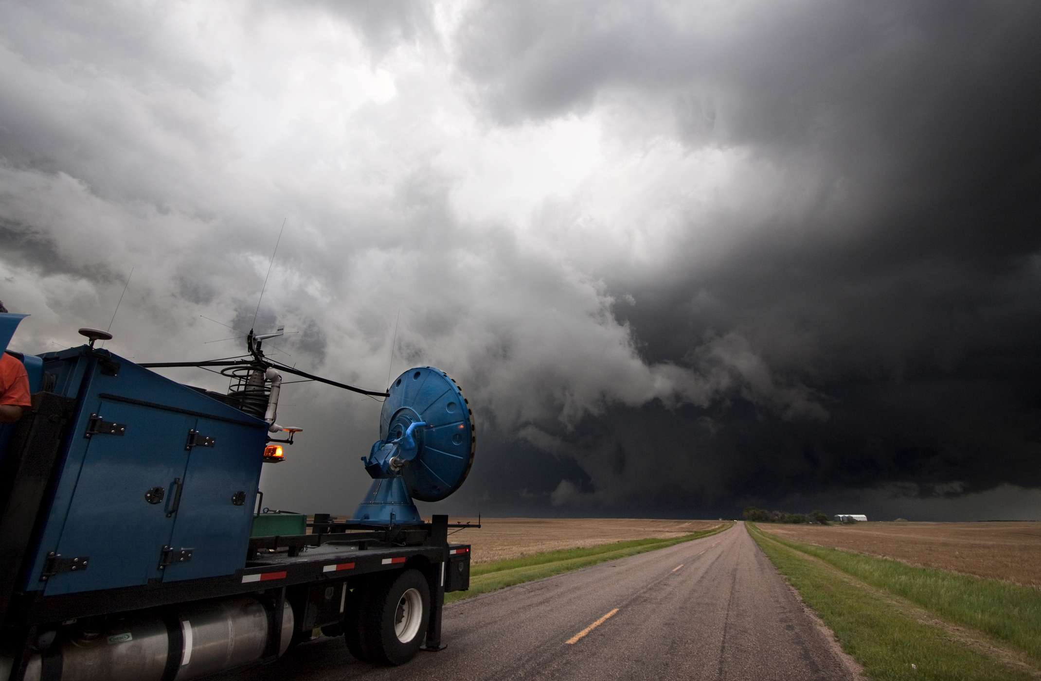 A mobile Doppler radar truck participating in Project Vortex 2 scans a previously tornadic storm in western Nebraska