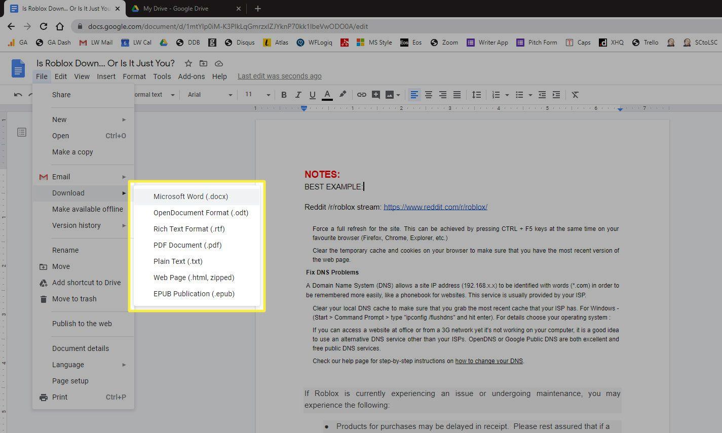 Download as Microsoft Word (.docx) menu item in Google document File menu