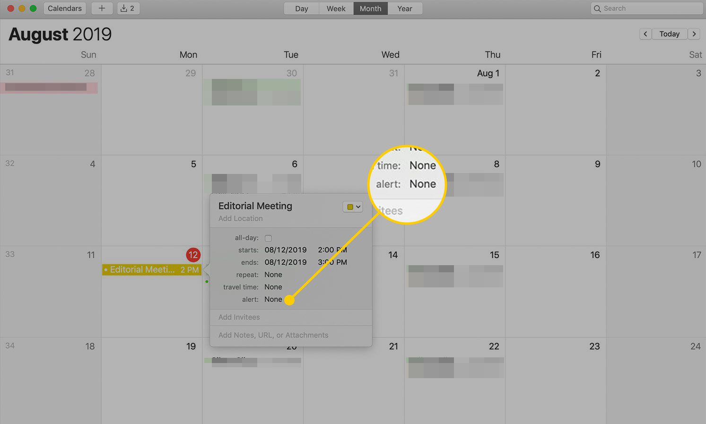 Alert field in a Calendar event