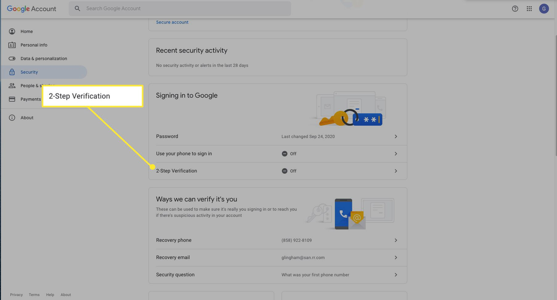 Google account settings with 2-Step Verification highlighted