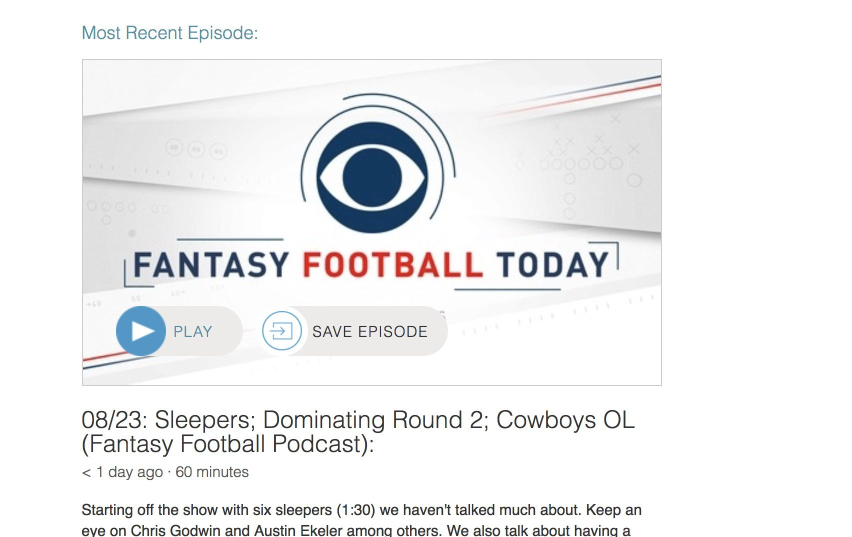 Screenshot of Fantasy Football Today's podcast page on Stitcher.