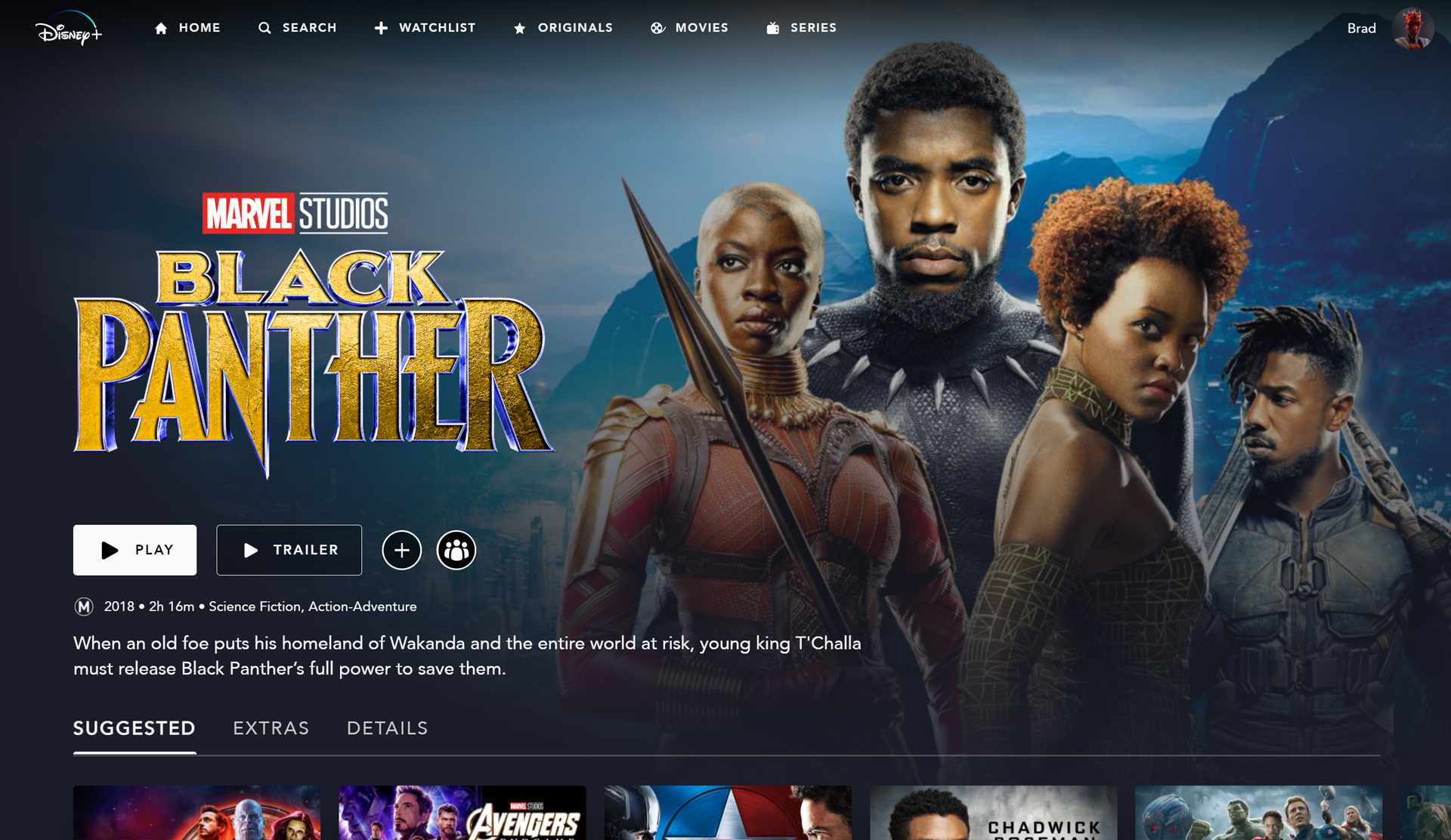 Marvel's Black Panther film and other Marvel movies for kids on the Disney Plus app.