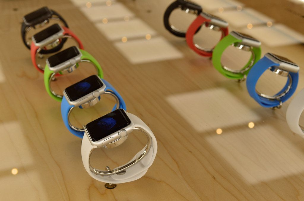 A display of Apple Watches in an Apple Store