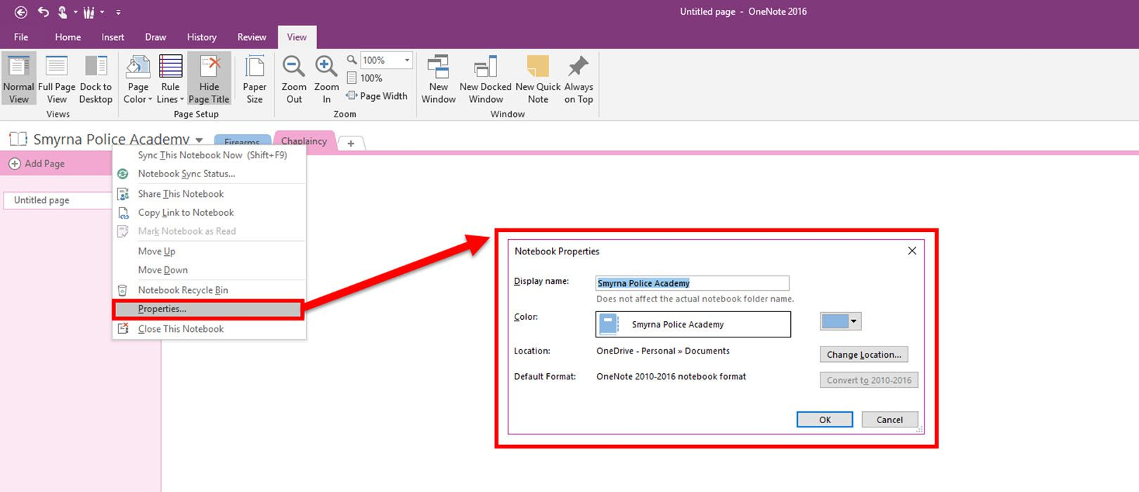 Onenote how to rename notebook