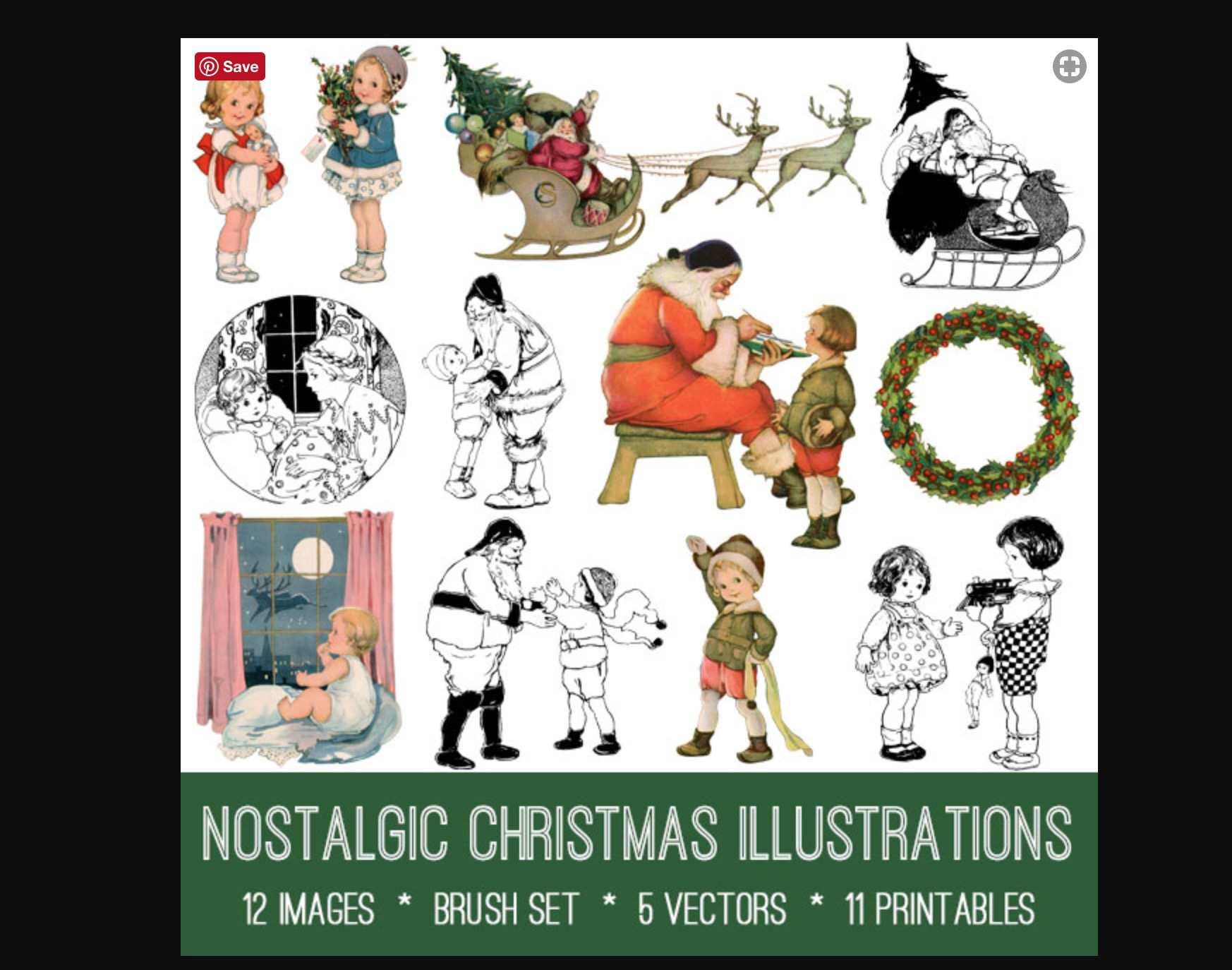 Nostalgic Christmas illustrations